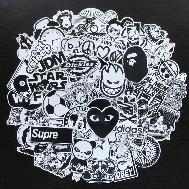[Indonesia Direct] 50Pcs/Set Car Tide Black White Stickers Vinyl Dope Sticker Graffiti Decals  Black and white