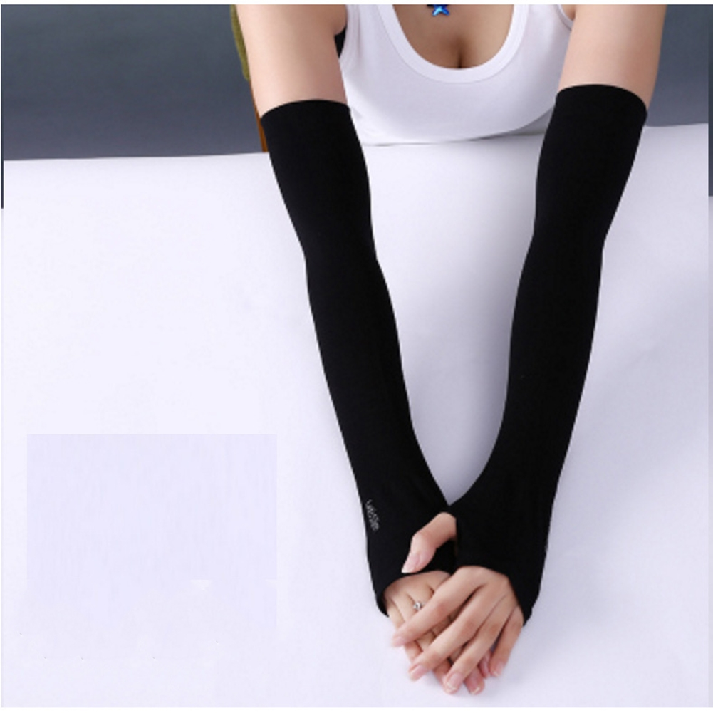 Ice Fabric Arm Sleeves Mangas Warmers Summer Sports UV Protection Running Cycling Driving Reflective Sunscreen Bands [Half fingers] black