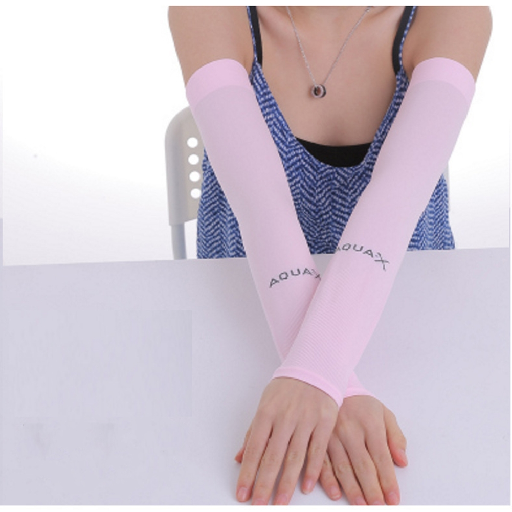Ice Fabric Arm Sleeves Mangas Warmers Summer Sports UV Protection Running Cycling Driving Reflective Sunscreen Bands [Flat Mouth] Pink