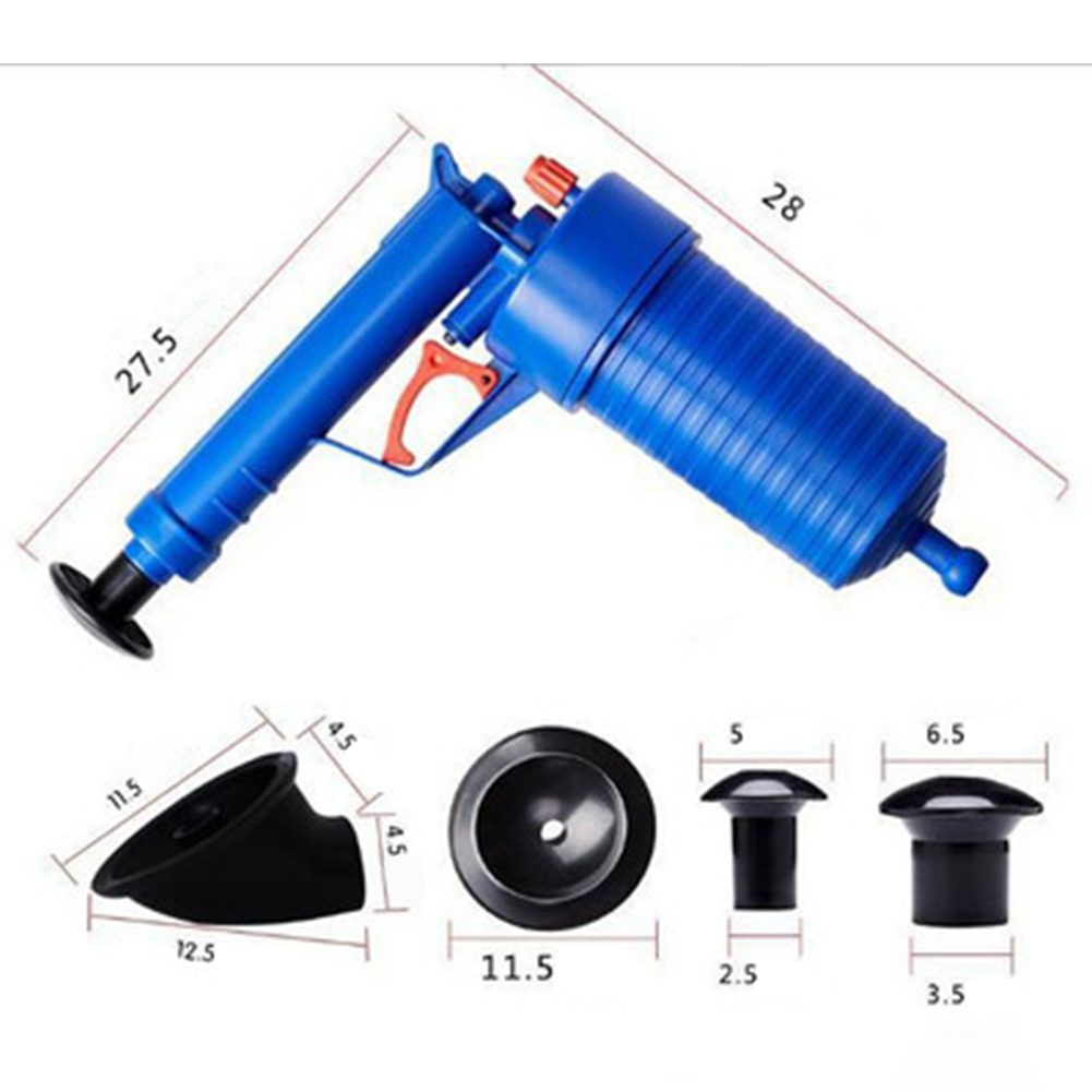 Toilets Bathroom High Pressure Air Drain Pump Plunger Sink Pipe Clog Remover Cleaner Kit blue