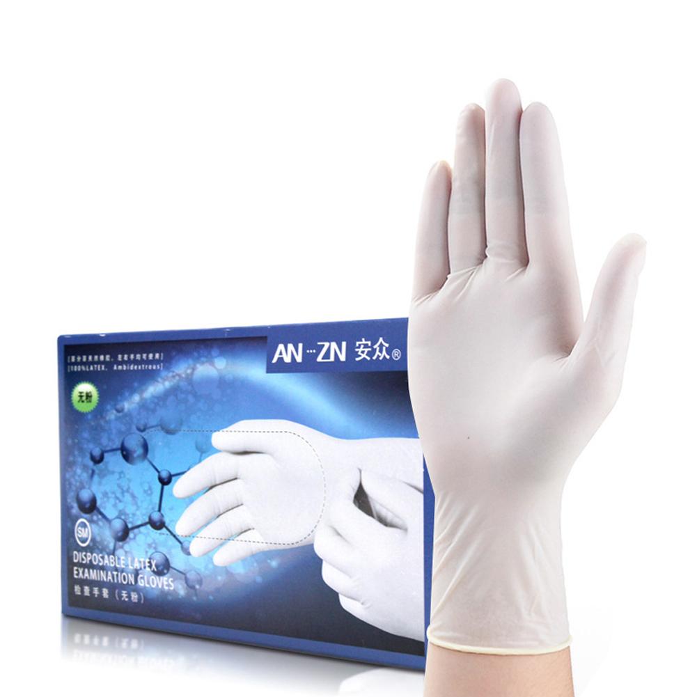 100Pcs Disposable Gloves Latex Universal Kitchen Dishwashing Medical Rubbe Gloves M