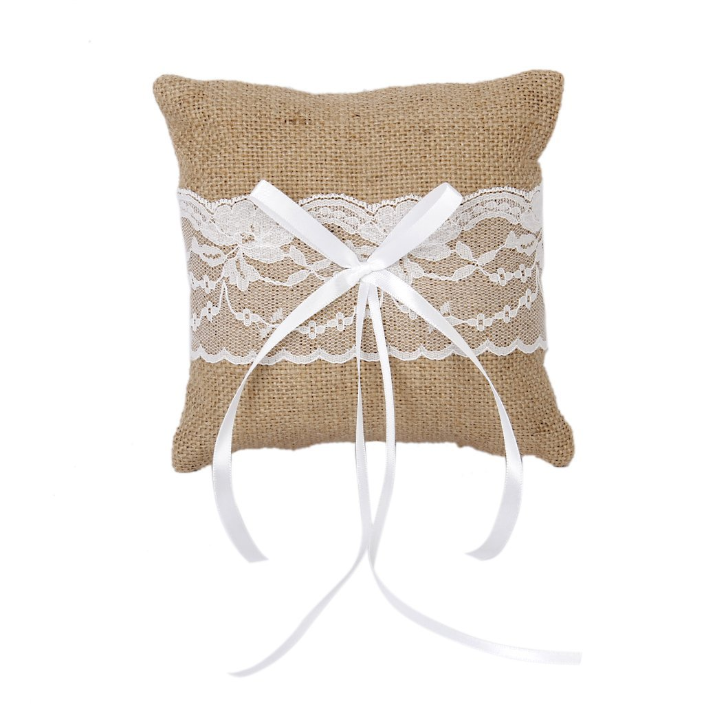 Vintage Jute Rustic Wedding Ring Pillow 6 inch x 6 inch