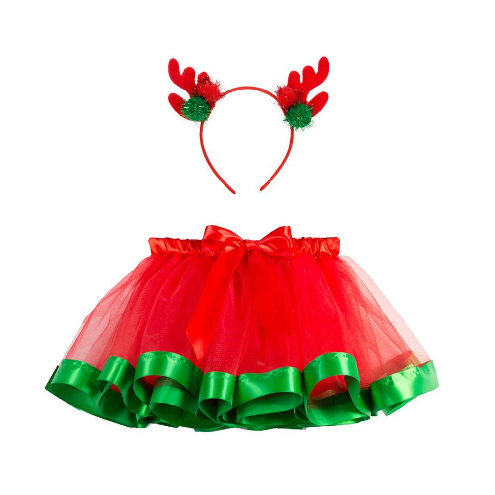 Children's Skirt Christmas Mesh Skirt + Headdress for 2-8 Years Old Kids RT090H_S