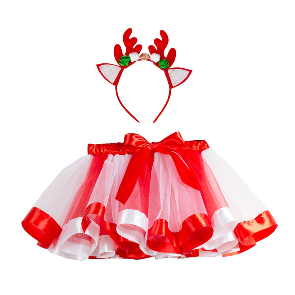 Children's Skirt Christmas Mesh Skirt + Headdress for 2-8 Years Old Kids RT088H_L