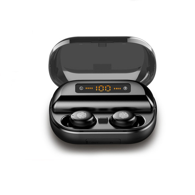 [Indonesia Direct] TWS 5.0 Bluetooth 9D Stereo Earphone Wireless Earphones IPX7 Waterproof Earphones Sport Headphone black