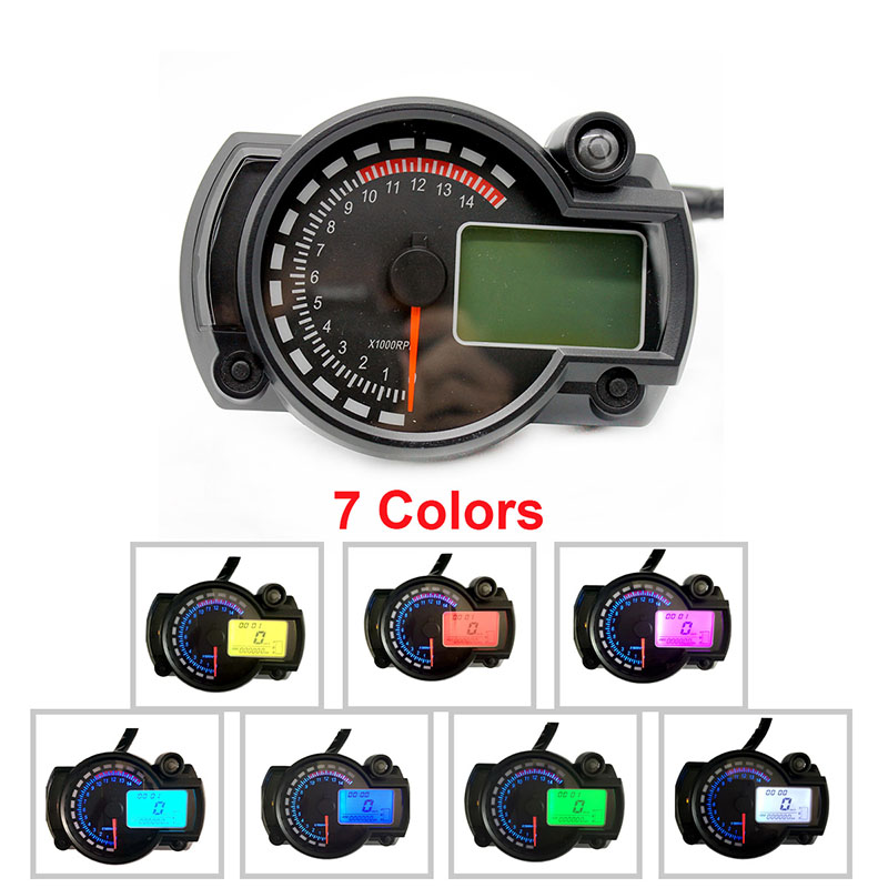 [Indonesia Direct] Motorcycle Digital Speedometer LCD Gauge Speedometer Tachometer Odometer Instrument Colorful_B2910
