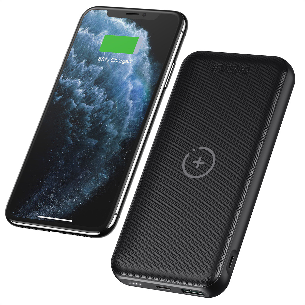 [US Direct] CHOETECH Wireless Power Bank Qi Portable Charger for iPhone 12 Pro Max 10000mAh External Battery QC 3.0 18W USB C PD Fast Charger for iPhone 11 XR Xs SE 8 AirPods Samsung S21 S20 Note 20 10 9 A72 A71 10*2*16