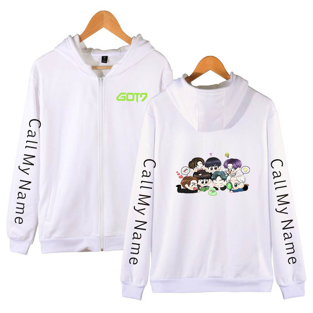 Zippered Casual Hoodie with Cartoon GOT7 Pattern Printed Leisure Top Cardigan for Man and Woman White D_L