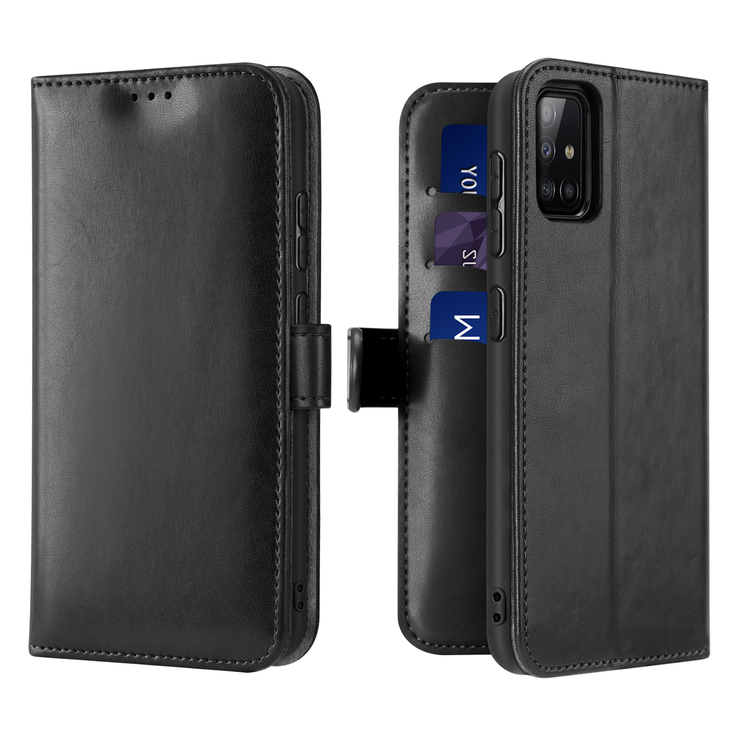 DUX DUCIS For Samsung A51/A71 Fall Resistant Mobile Phone Cover Magnetic Leather Protective Case Bracket with 3 Cards Slot black_Samsung A51