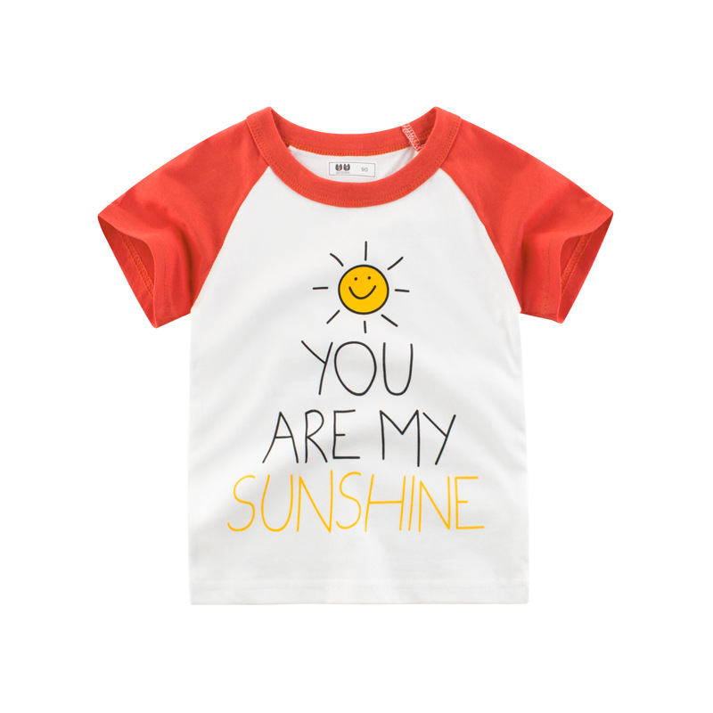 Children Boy Pure Cotton Cartoon Pattern Round Collar Casual T-shirt for Summer
