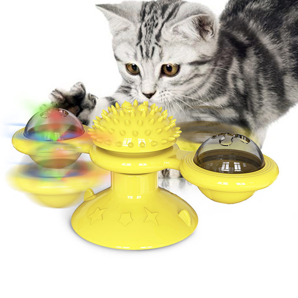 Windmill Cat Toy Interactive Turntable Massage Brush for Pet Kitty Scratching Tickle yellow
