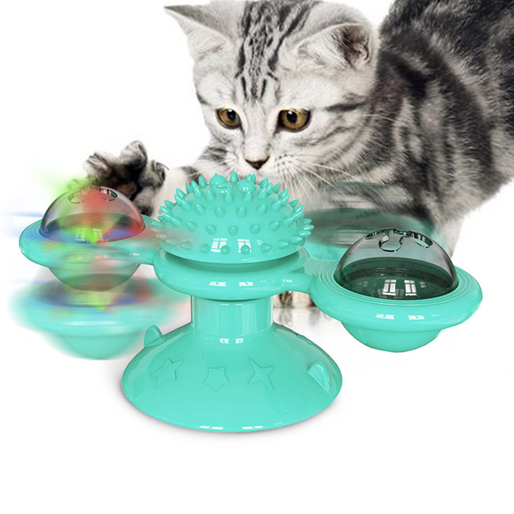 Windmill Cat Toy Interactive Turntable Massage Brush for Pet Kitty Scratching Tickle Lake Blue
