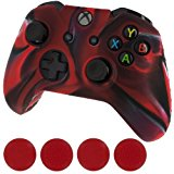 [EU Direct] Generic New Silicone Cover Case Skin Controller & Grip Stick Caps for Xbox One(camouflage Red Black)