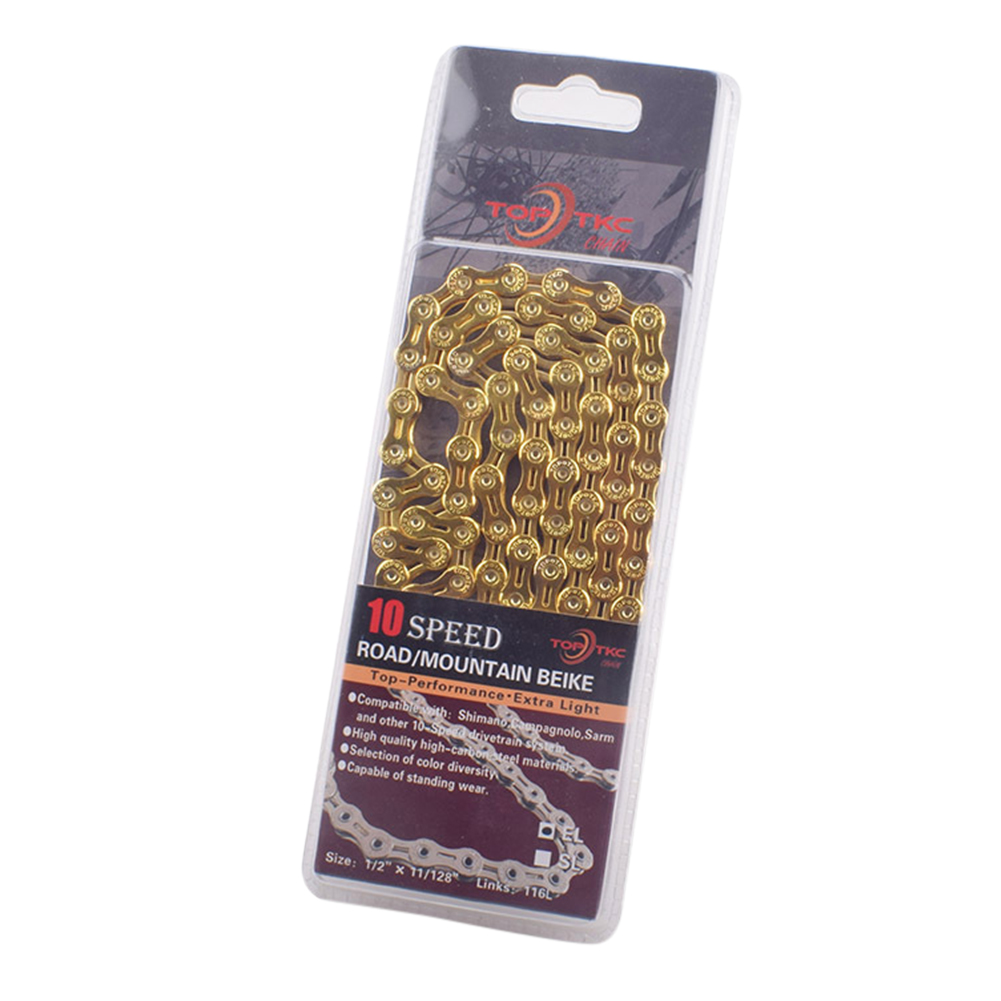 Bicycle chain Hollow Bike Chains 9 10 11 speed Ultralight MTB Mountain Road Bike variable 10X10L27/30 speed 10 speed hollow chain (gold)