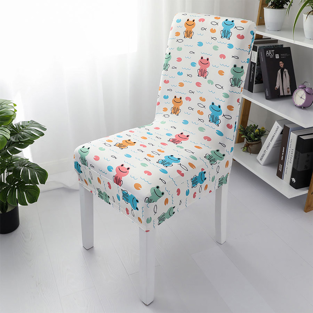 1pc Simple Stretch Chair Cover Home Half Pack Printed Chair Cover Happy frog_One size