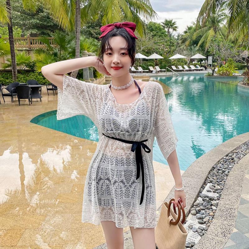 3pcs/set Swimsuit Split Suit Bikini Swimming Suit With Sunscreen Blouse Hot Spring Swimsuit black_Int:L