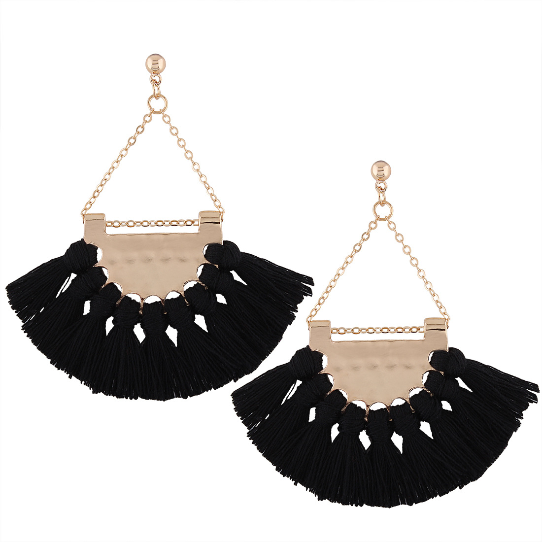 [EU Direct] Gprince European Fashion Fan-shaped Gothic Tassel Earrings Ear Drops Women Jewelry Black