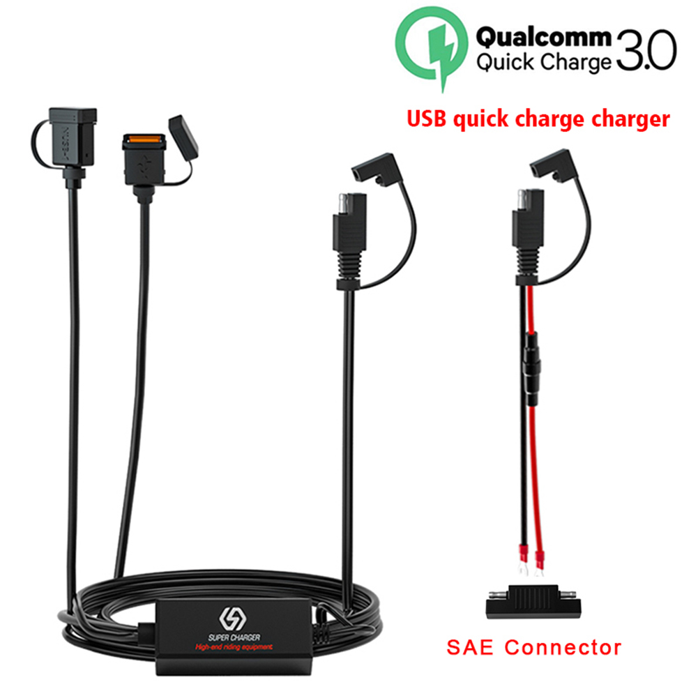 Waterproof 12v Motorcycle Dual Qc3.0 Usb Fast Charger SAE To Usb Adapter Quick Charger As picture show