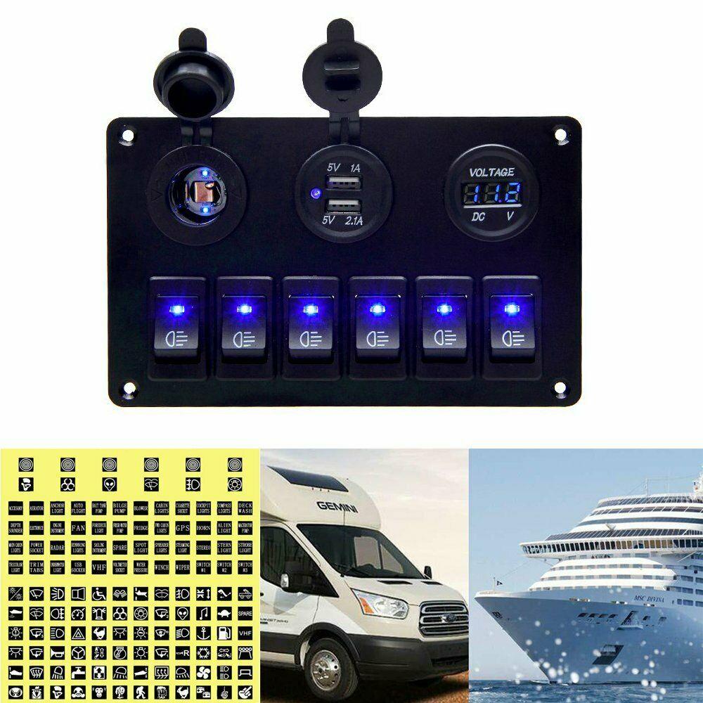 6 Gang Waterproof Circuit LED Rocker Switch Panel Breaker For Car Marine Boat Blue Light