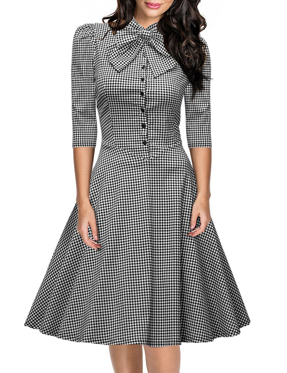 [US Direct] Leadingstar Women's Official Bow Neck Plaid Slim Half Sleeve Swing Vintage Dress Black and White Latticed Asia Size S