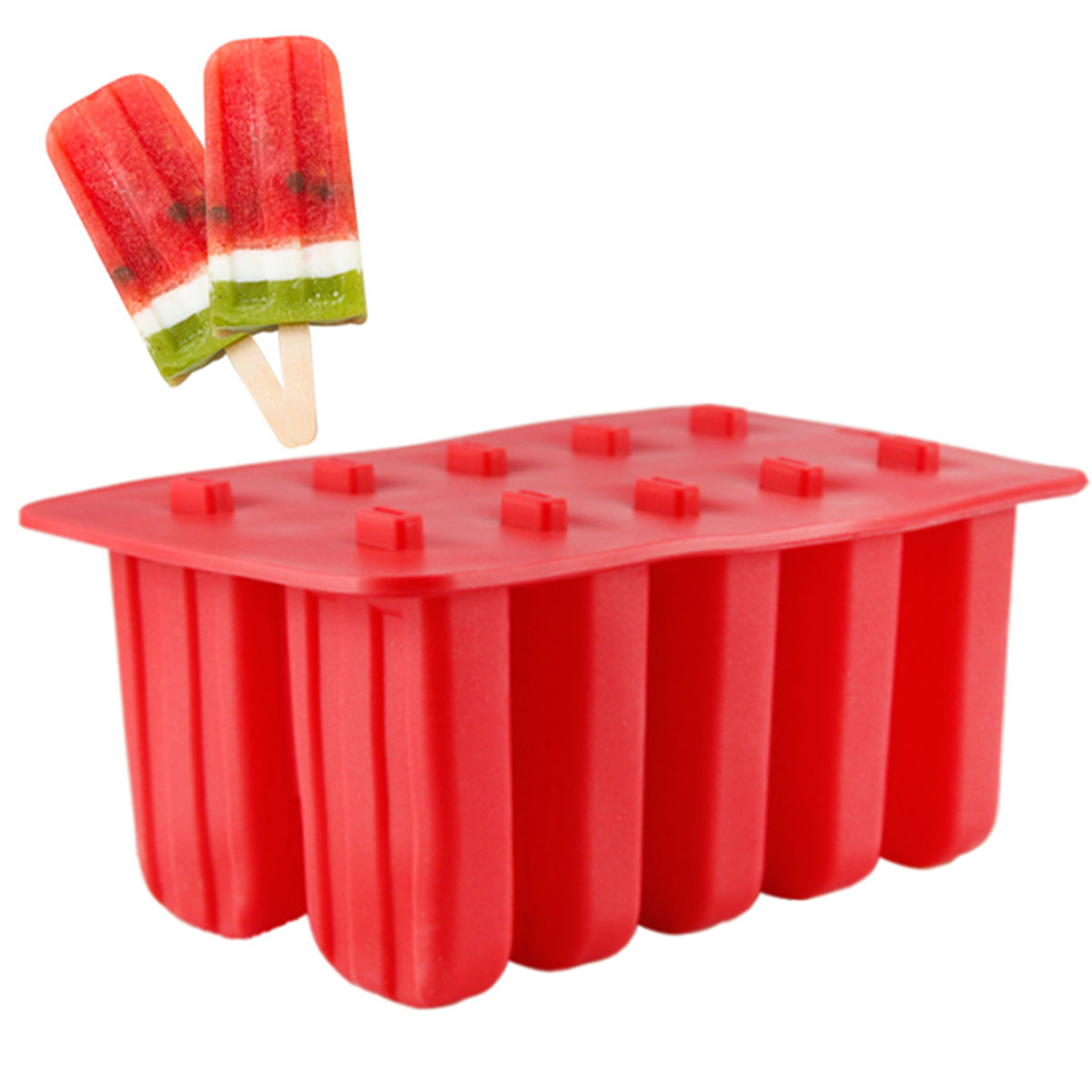10 Cells Ice Cream Popsicle Frozen Mold Silicone Ice Cream Lolly Maker Mould Ice Tray with Cover Lid red