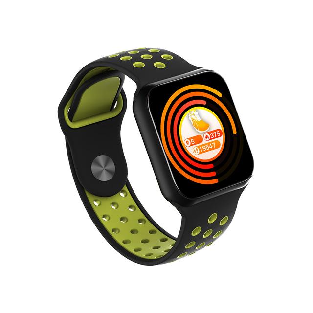 F8 Smart Watch Heart Rate Blood Pressure Blood Oxygen Monitoring Waterproof Smart Bracelet Black shell black green belt