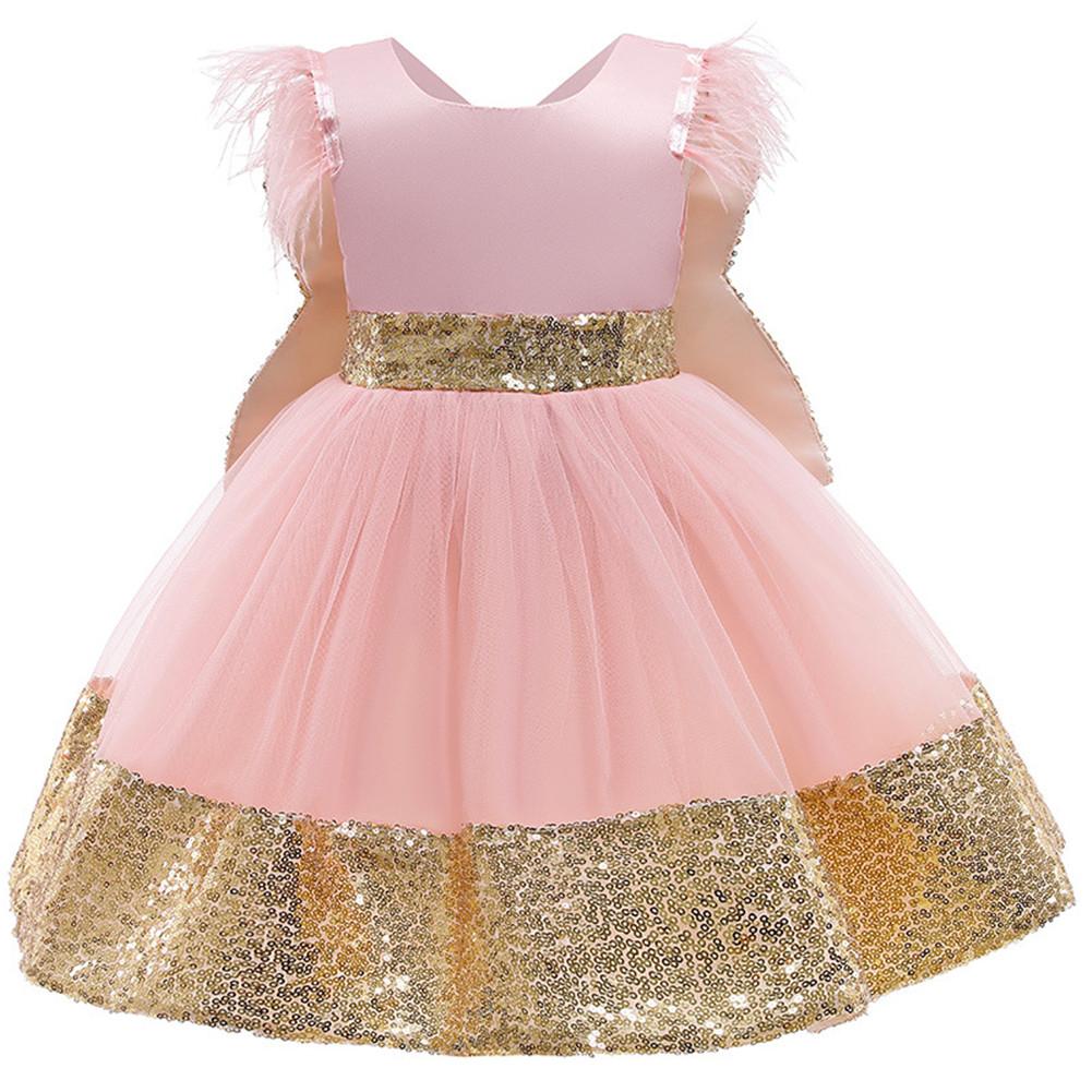 Girls Dress Christmas Sleeveless Bowknot Net Yarn Dress for 3-6 Years Old Kids Pink_120cm