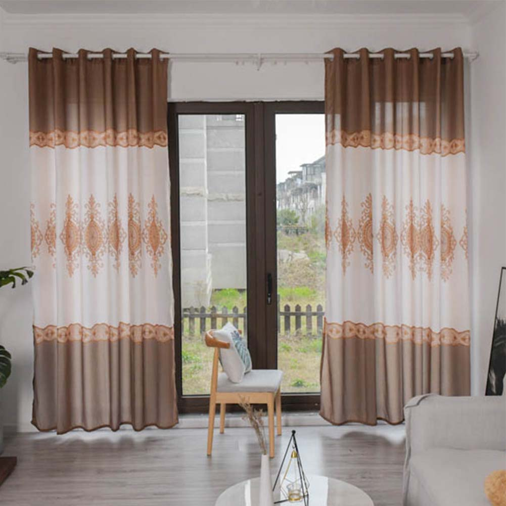 Wood Grain Shading Window Curtain for Home Living Room Bed Room Decoration Coffee color_1 * 2.7 meters high