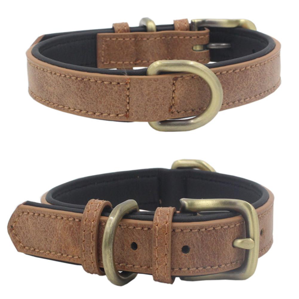 Pet Retro Wear Resistant Microfiber Collar for Large Medium Small Dogs Puppy 1#Brown_L 2.5*51CM