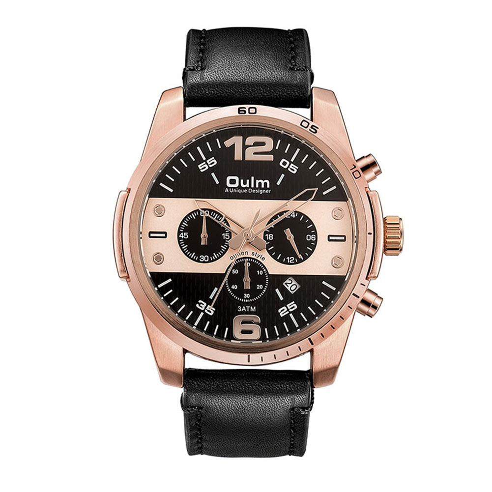 OULM Men Calendar Quartz Sports Watch Rose