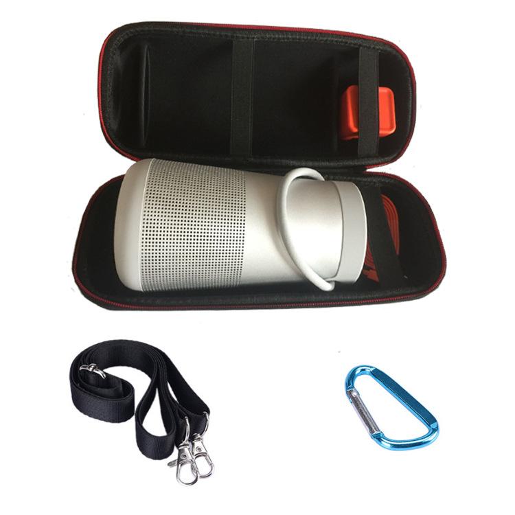 Travel Case Shockproof Headphones Storage Bag for Dr. BOSE Soundlink Revolve and Bluetooth Speaker Extra Space for Plug&Cables all black