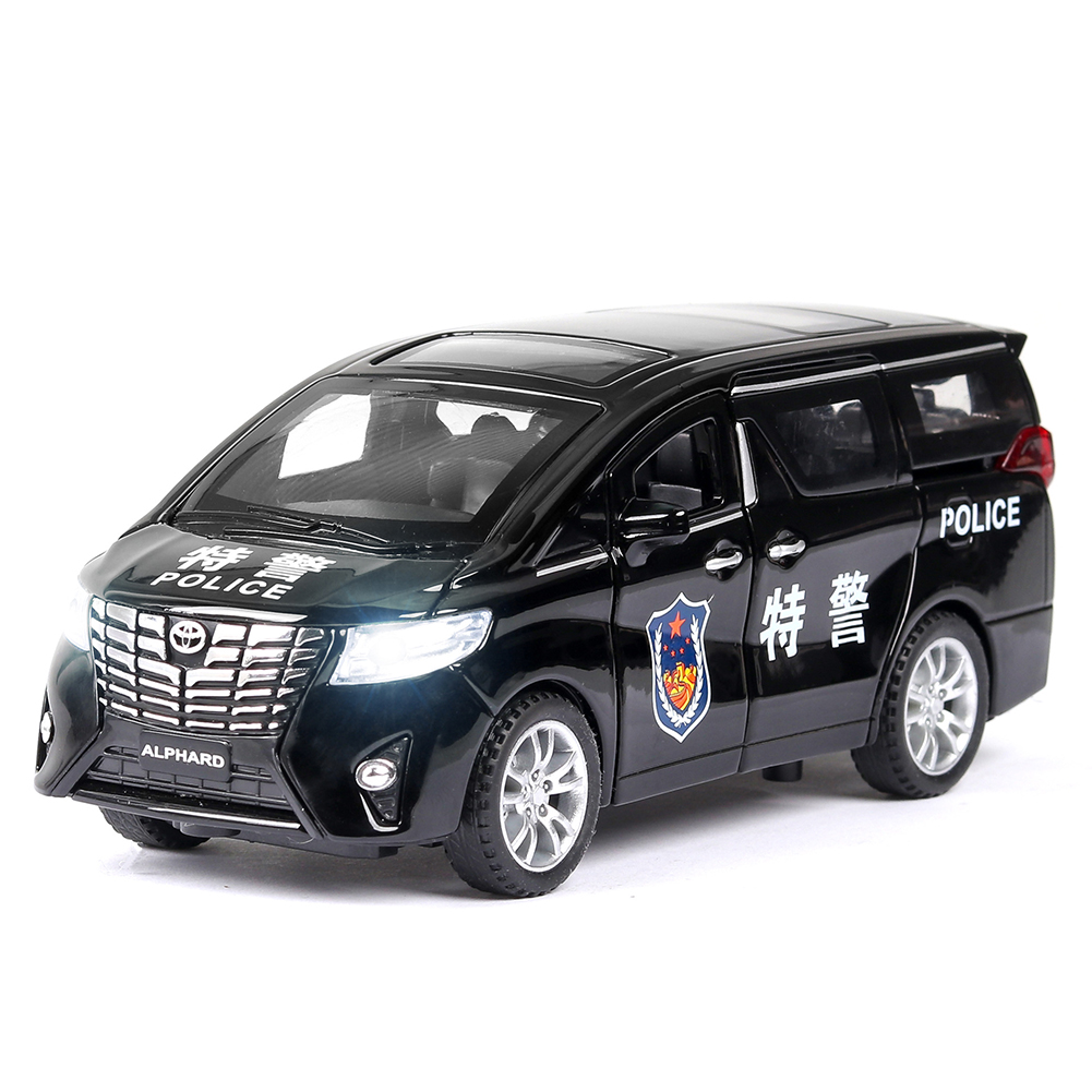 High Simitation 1:32 Police Car Model Children Vehicle Toy Alloy Metal Shell Pull Back Play Kids Birthday Gifts Home Car Decoration black