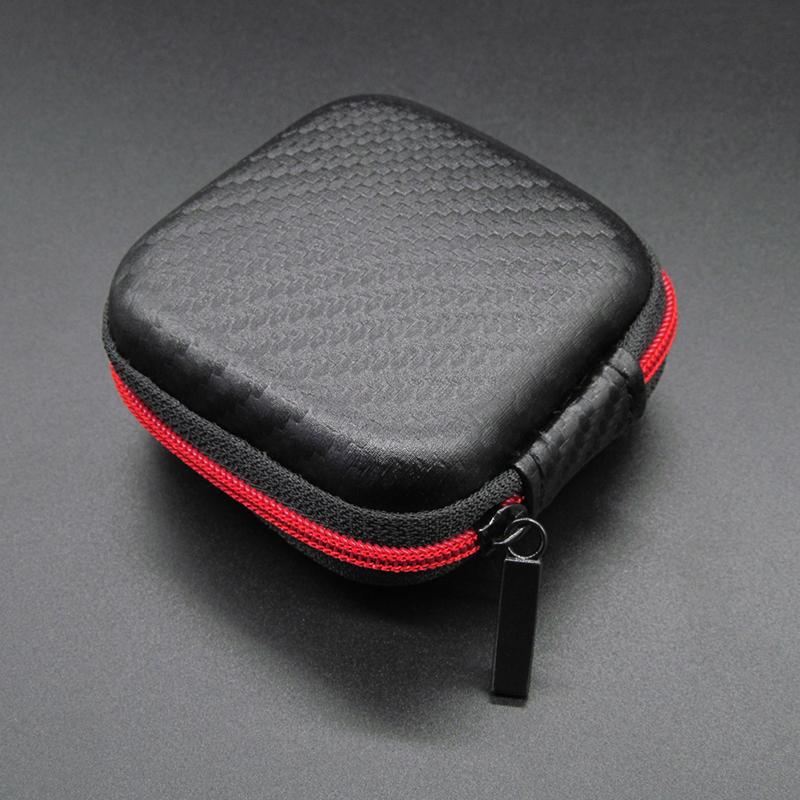 Portable Mini Zipper Square Hard Aseismic Moisture proof Headphone Bag Storage Box Headset Case for SD TF Cards As shown
