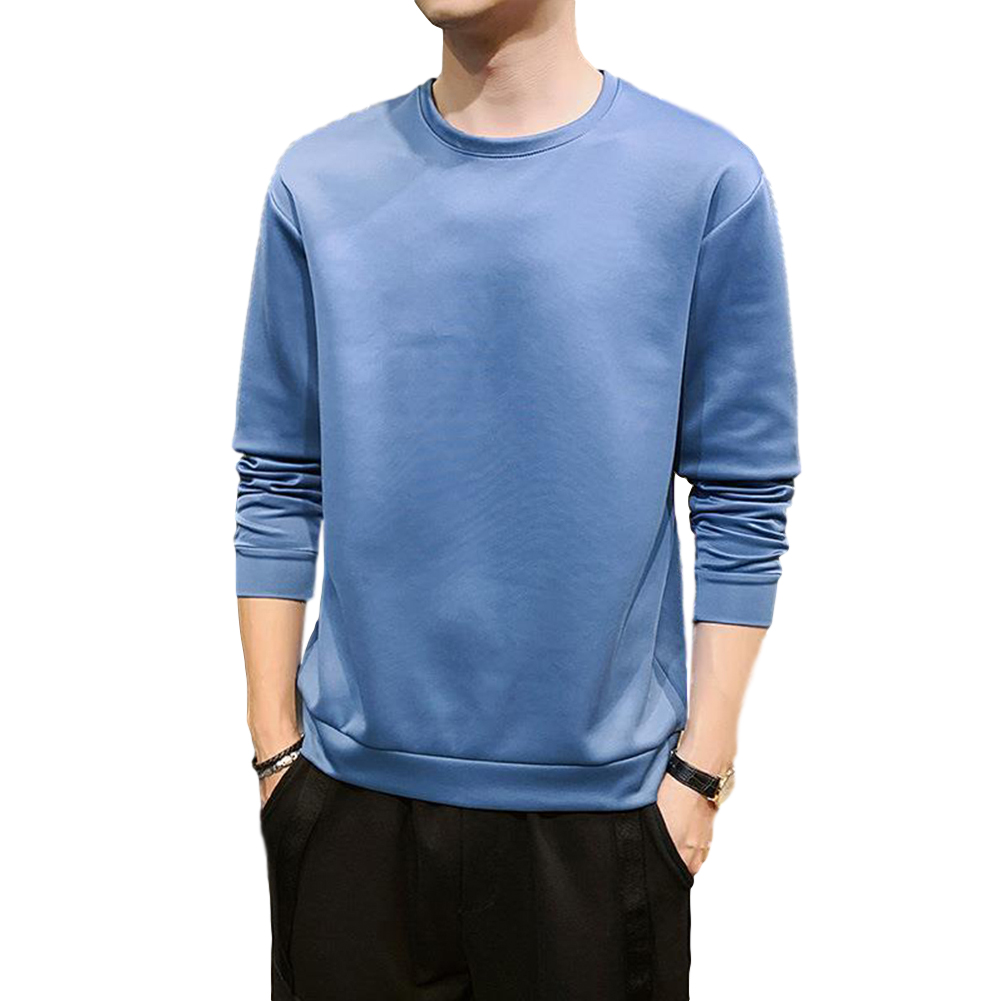 Men's Sweatshirt Round Neck Long-sleeved Solid Color Bottoming Shirt Sky blue_XXXL