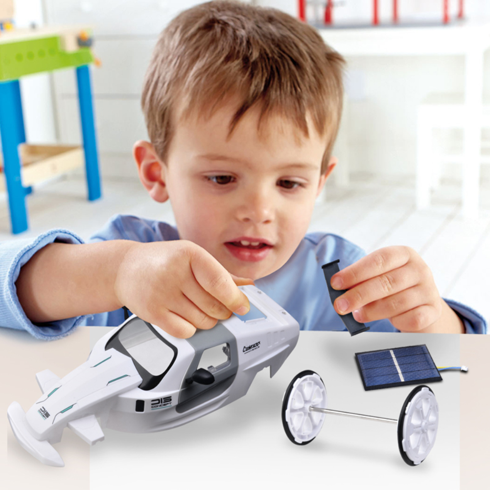 015 Toy Cars Solar Four-wheel Drive DIY Assembly Electric Model Car 015