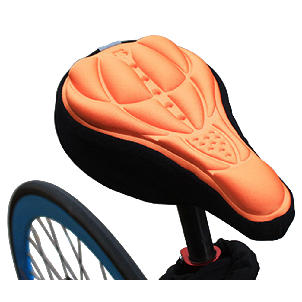 3D Breathable Bicycle Seat Cover Embossed High-elastic Cushion Perfect Bike Accessory Orange