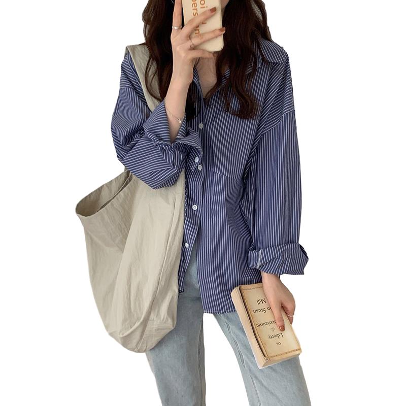 Women Shirt Striped Shirt With Long Sleeves Diagonal Slit Design For Front Piece Lapel Tops Dark blue stripes_L