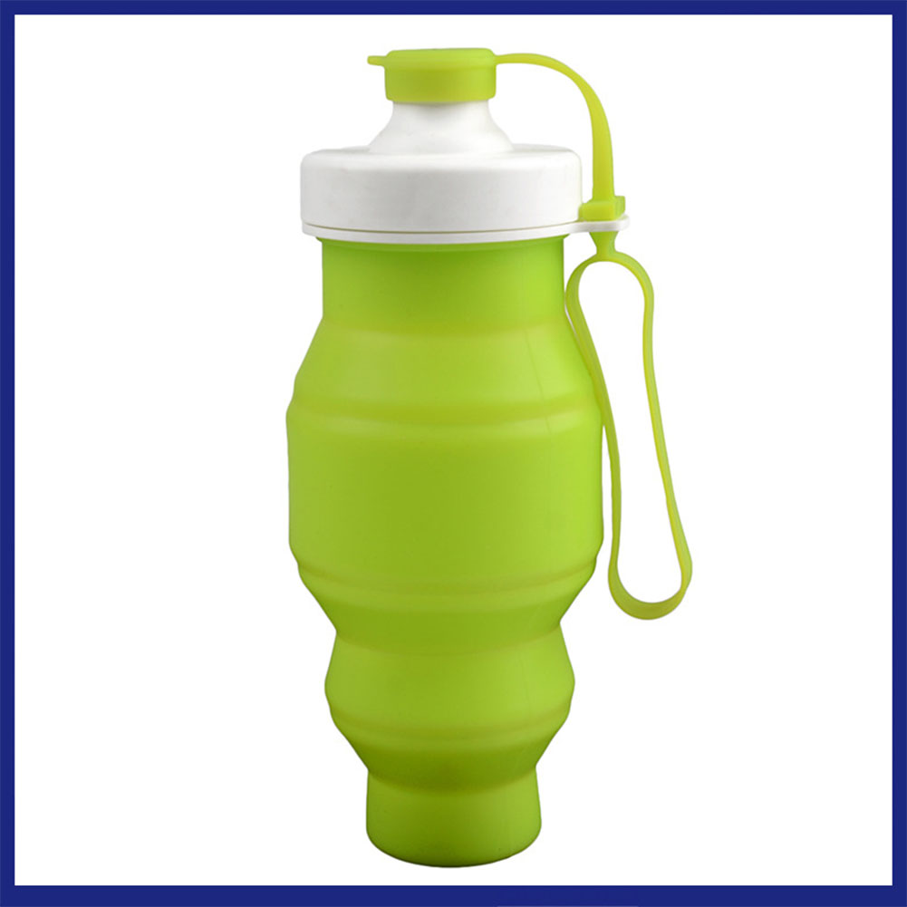 530ML Portable Silicone Folding Water Bottle Collapsible Drinking Outdoor Travel Sport Kettle Gift green