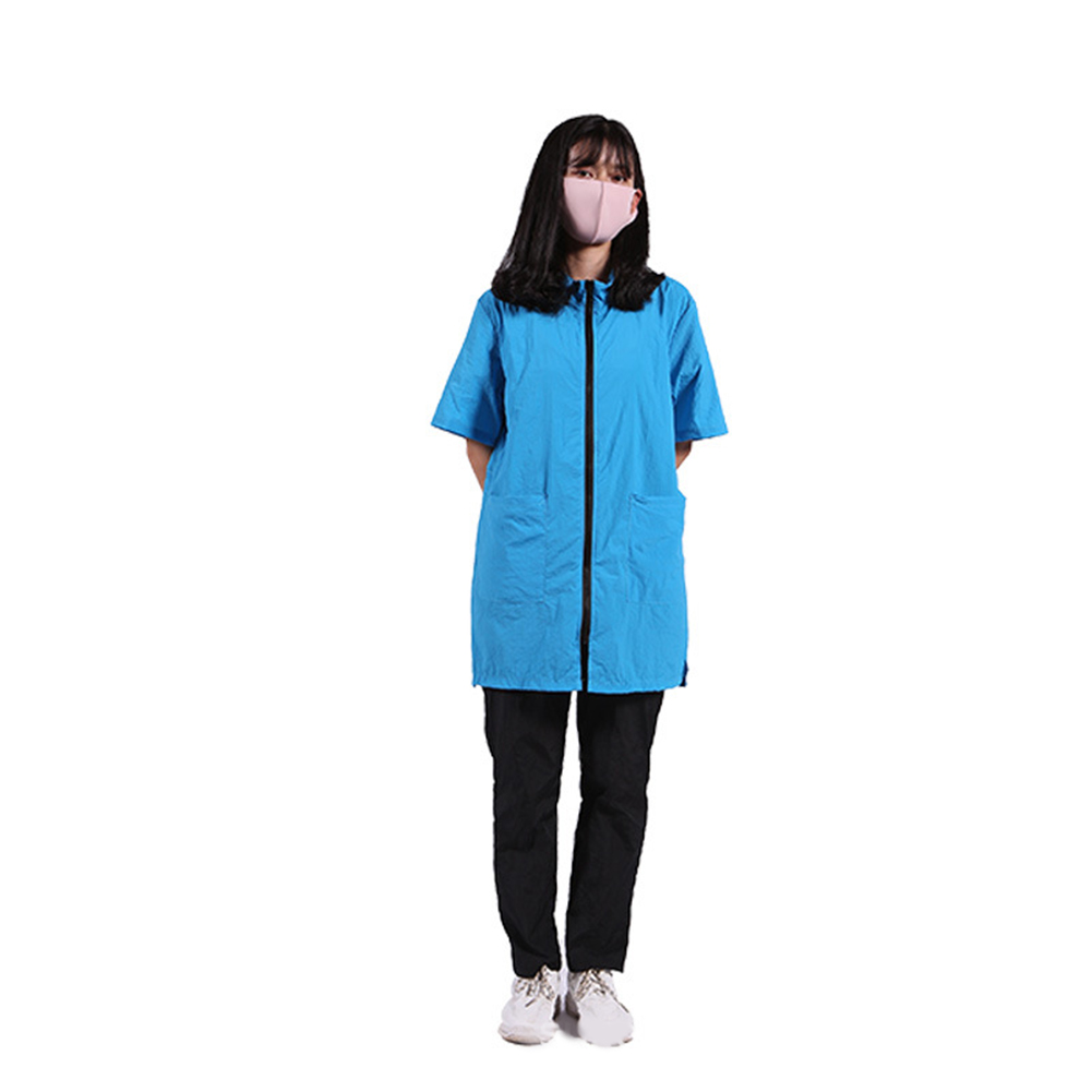 Waterproof Anti-static Not Sticking Hair Shirt Pet Grooming Bath Half-sleeves Apron with Pocket for Dog Cat Cleaning Hair Triming M_blue