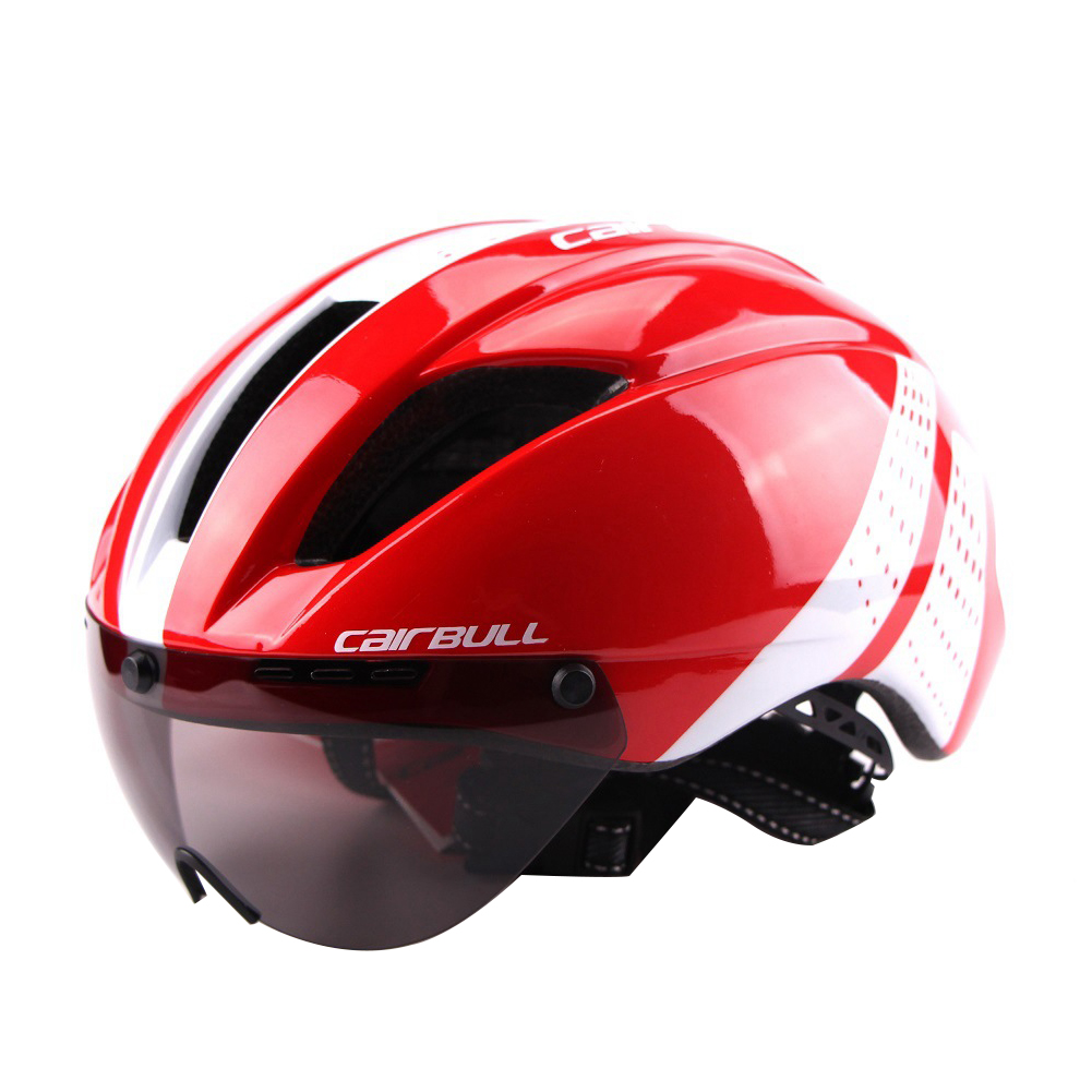 Lightweight Unisex Cycling Helmet with Detachable Magnetic Goggles Aerodynamic Helmet for Motorcycle Bike Riding  Red and white_L (58-62CM)