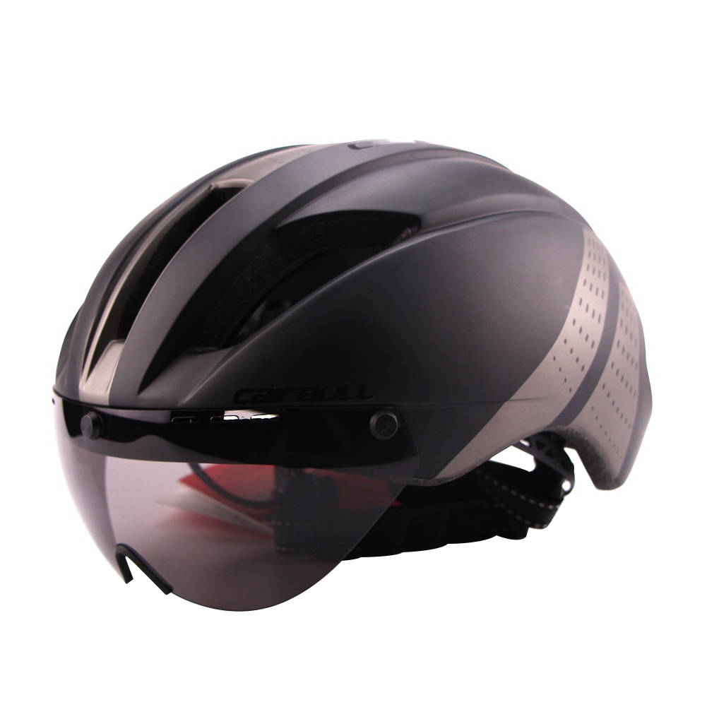 Lightweight Unisex Cycling Helmet with Detachable Magnetic Goggles Aerodynamic Helmet for Motorcycle Bike Riding  Black gray_M (54-58CM)