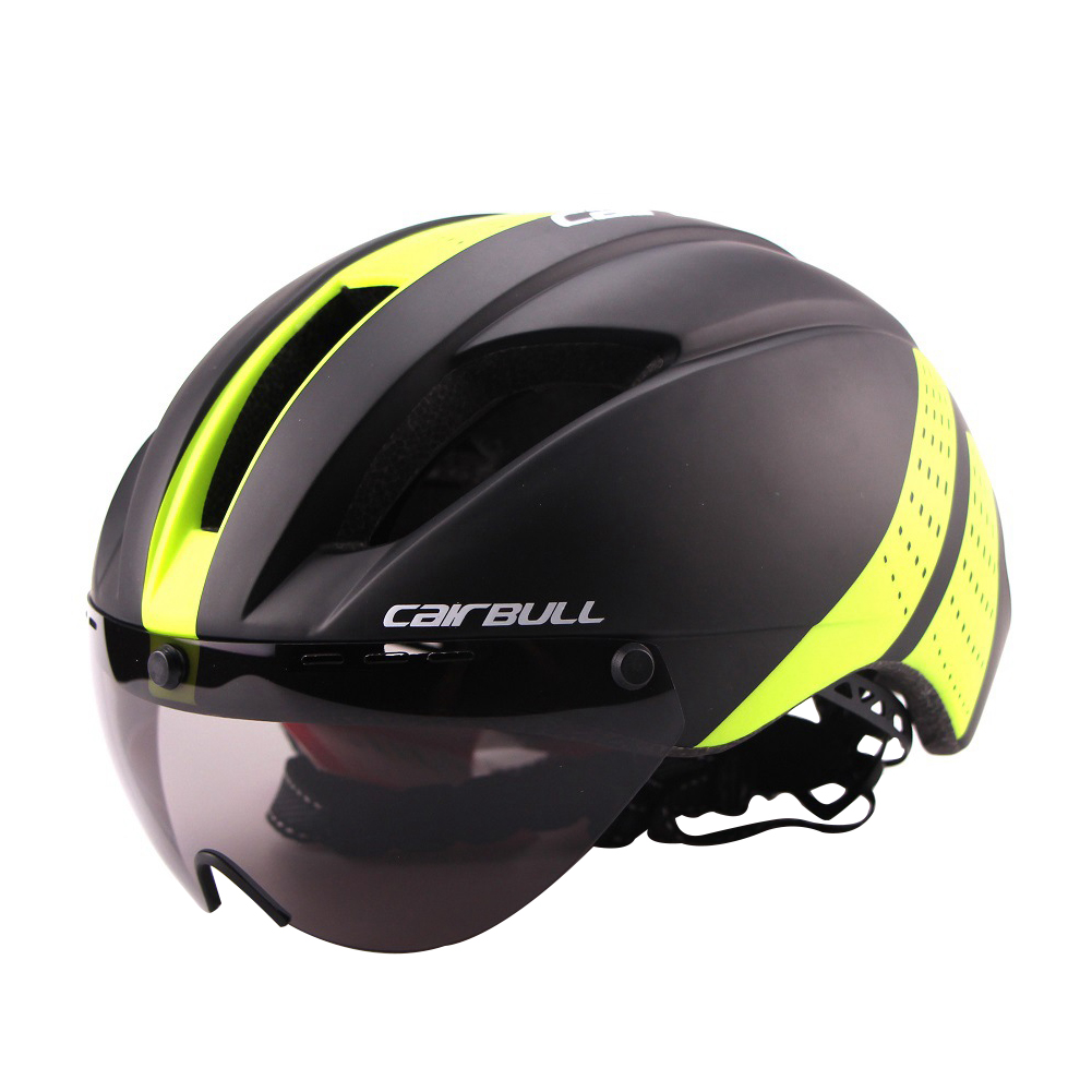Lightweight Unisex Cycling Helmet with Detachable Magnetic Goggles Aerodynamic Helmet for Motorcycle Bike Riding  dark green_M (54-58CM)