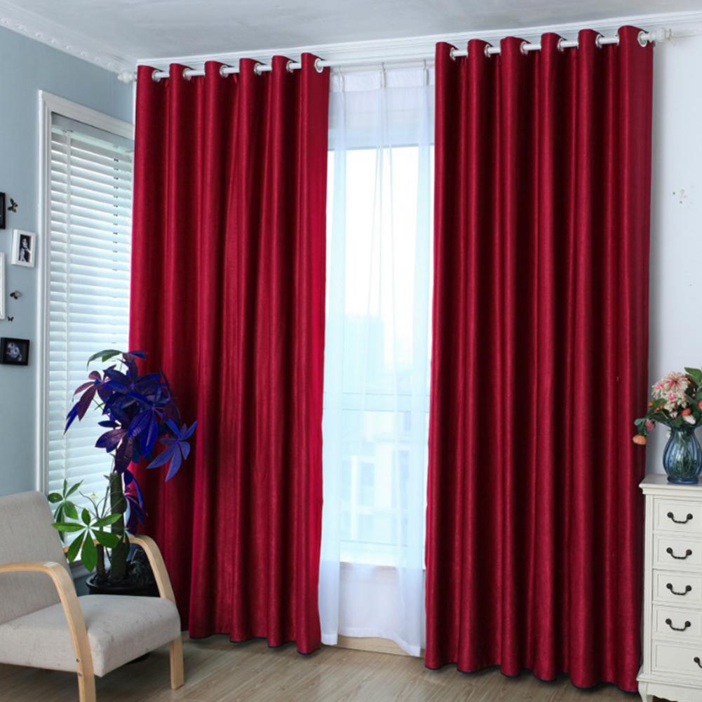 1PCS Cotton & Linen Blackout Curtain Solid Colour Drape for Home Hotel Decoration wine red_100 * 210cm