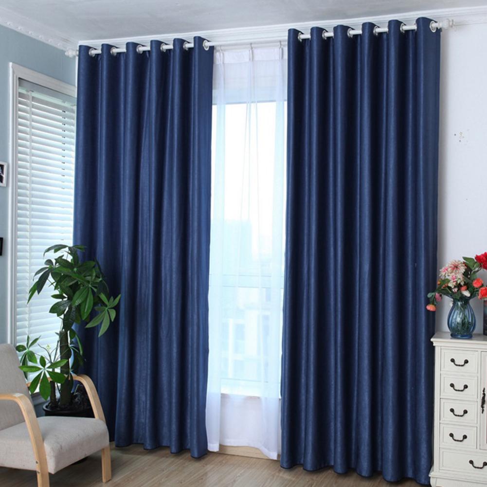 1PCS Cotton & Linen Blackout Curtain Solid Colour Drape for Home Hotel Decoration Navy blue (dark blue)_100 * 210cm