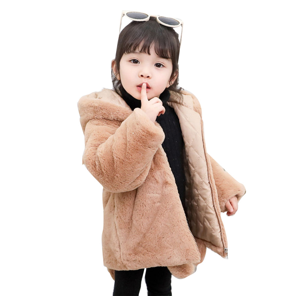Girl's Cute Cartoon Ear Thickened Long Sleeve Coat Jacket with Tail for Campus Casual  brown_110cm