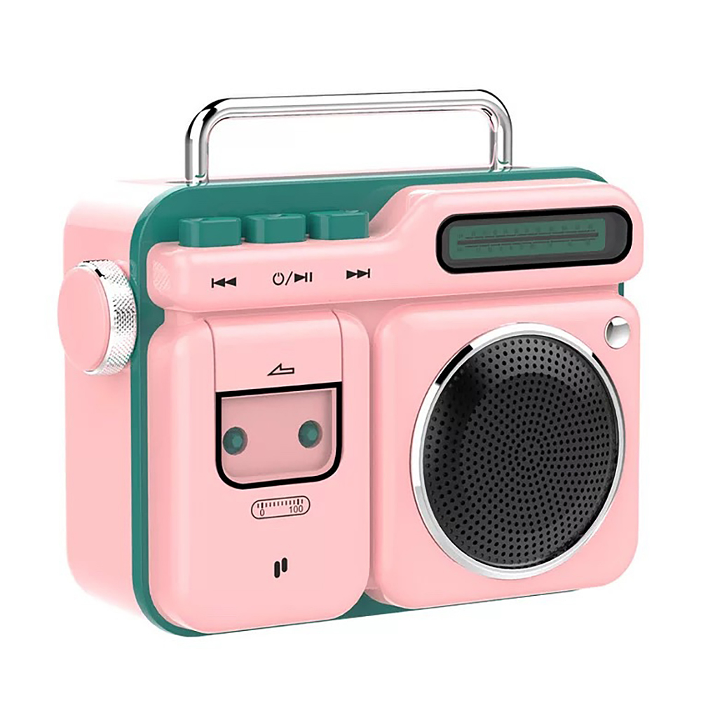 PURIDEA MOCA Portable Bluetooth Speaker Retro Radio-shaped Mini Stereo Loundspeaker Pink