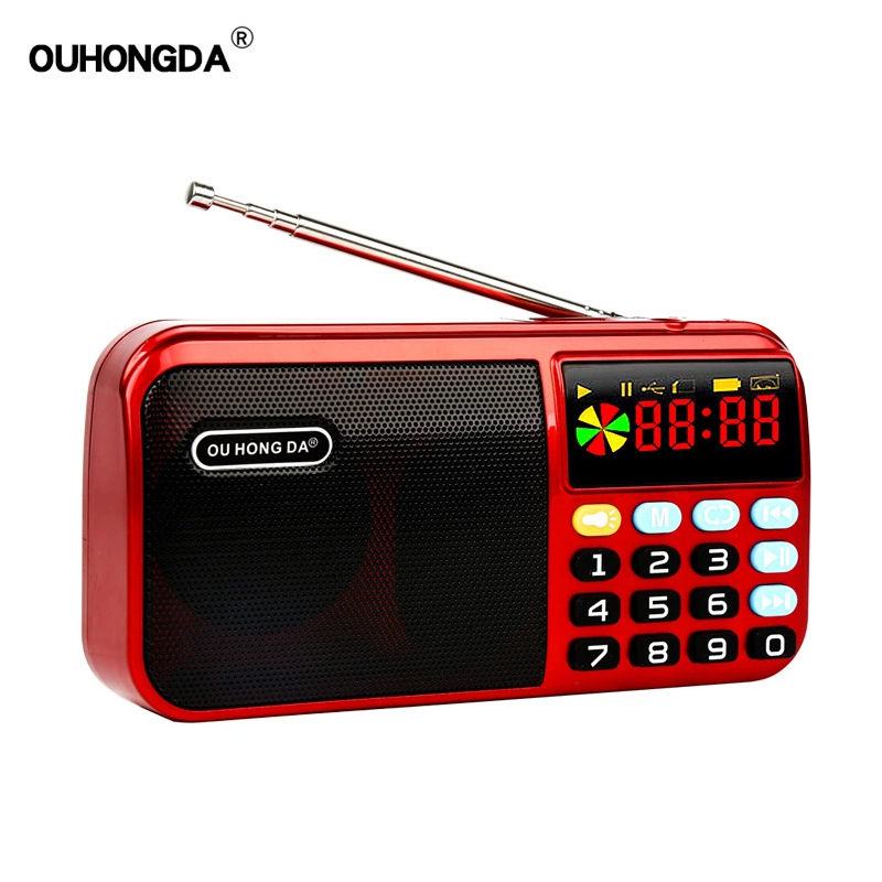Mini Portable Radio Handheld Digital FM USB TF MP3 Lithium Battery Powered Player Speaker red
