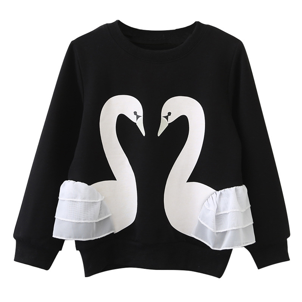 Baby Girls Long Sleeve T-Shirt Cute Cartoon Swan Lace Solid Color Pullover Children Clothing Blouse Christmas Gifts