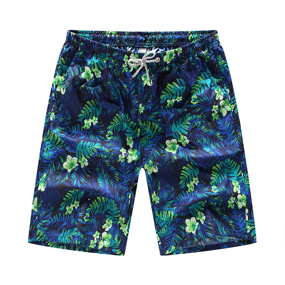 Men Casual Quick-drying Green Leaf Printing Beach Shorts Green flower male_4XL