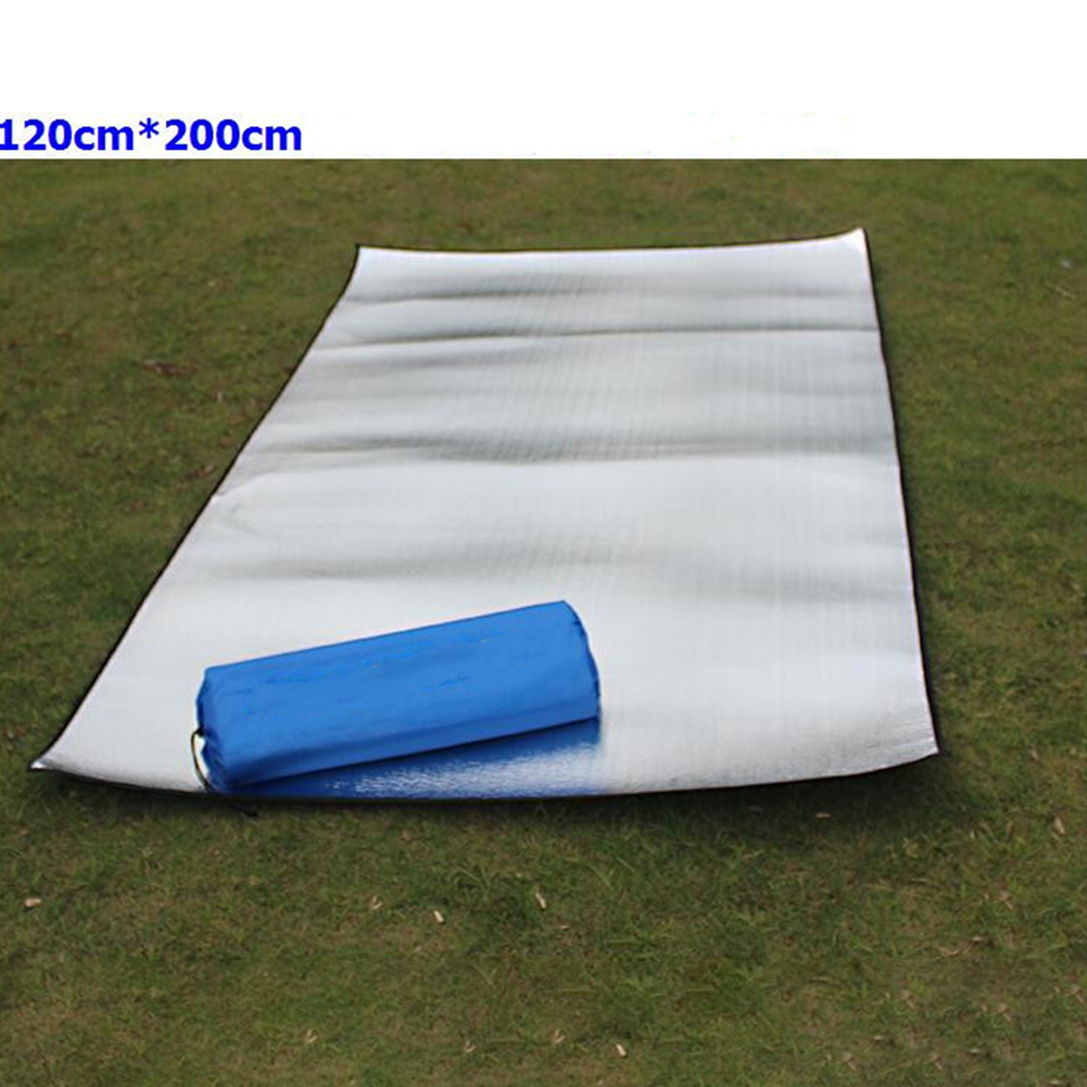 Double-sided Foldable Waterproof Aluminum Film Pad Portable Small Picnic Outdoor Camping Beach Mat Silver_Double-sided 120*200*0.25cm cloth bag